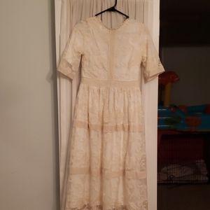 Pink Blush lace midi dress